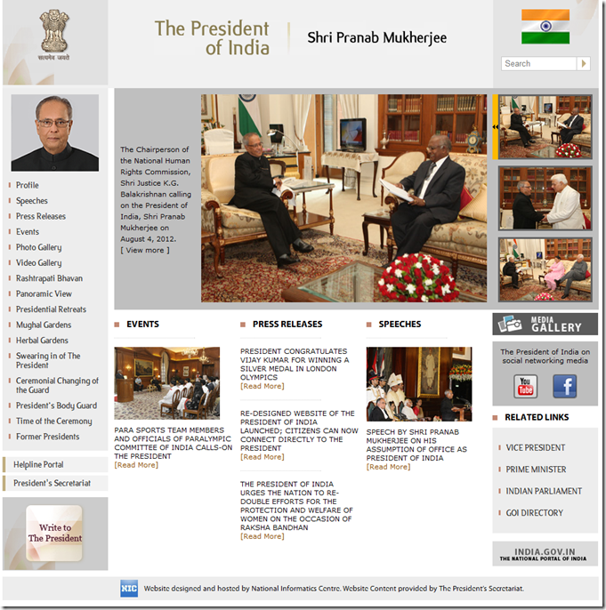 president website home